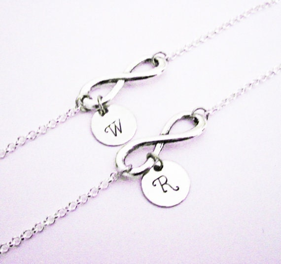 Mother & Daughter personalized infinity NECKLACES, Set of two (2) bff gifts, letter, monogram, child little girl, mom, custom stamped charm