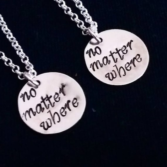 2 best friends necklace, no matter where necklace set of two, bff necklace, mother daughter, friendship jewelry, personalized necklaces set