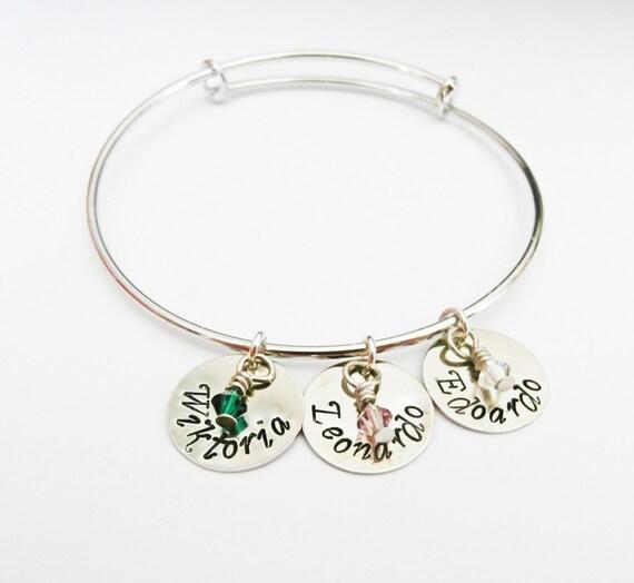 Personalized Mommy Bracelet, Name Bracelet, Mom Bracelet Handstamped Charm Bracelet Grandma Bracelets, Birthday Gift, Mommy Gift, birthstone