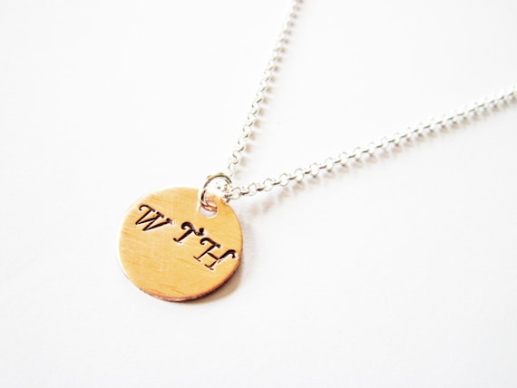 Three Initial Necklace, Three Letters on One Disc, Three Letter Name Necklace, engraved initials, custom necklace, personalized jewelry, WTH