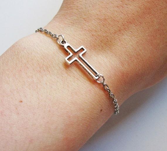 Tiny Cross Bracelet, Sideways Cross Bracelet, silver Cross bracelet, Cross jewelry, horizontal cross, side ways cross bracelet, open cross