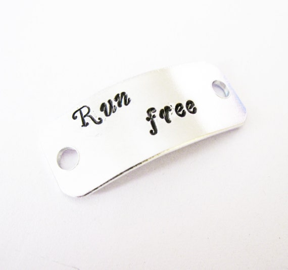 Custom Runners ID Shoe Tag Personalized Name Hand Stamped Silver Aluminum, run free shoe tag, running shoe tag, runners gift, engraved tag