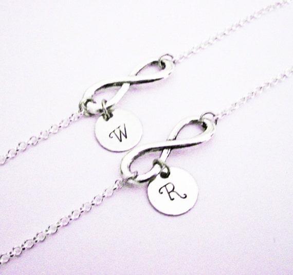 Mother & Daughter personalized infinity bracelets, Set of two (2) bracelets, letter, monogram, child little girl, mom, custom stamped charm