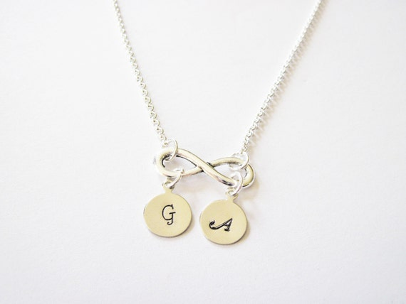 Custom Infinity Necklace, Initial Necklace, Silver Infinity Necklace with Initial Jewelry, Necklace Infinity Gift, bridesmaids necklace