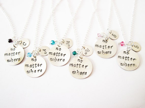 6 best friend necklace, initial necklace, long distance, personalized jewelry gift for best friends six friendship bff necklace birthstone