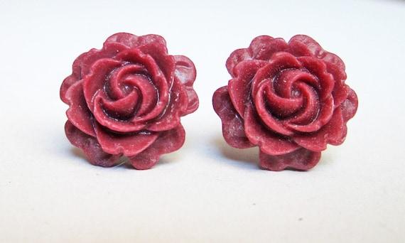 red rose earrings, chrysanthemum earrings, rose earrings, post earrings, red roses earrings, rose jewelry earrings, floral earrings, flowers