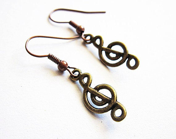 Treble Clef Earrings, Music Earrings, Music Note Earrings, Treble Clef Jewelry, Tiny Treble Clef Earrings, Music Symbol Charm, Vintage style