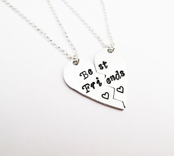 Broken Heart necklaces Best Friends Handstamped necklace set of two, childrens matching necklace gift set, two sisters necklace best friend