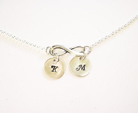Personalized Jewelry, Infinity Necklace, Monogrammed Initial Necklace, Silver Infinity Necklace with Initial Jewelry, Necklace Infinity Gift
