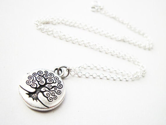 Tree of Life Necklace, Sterling Silver Chain, simple pretty everyday necklace, under 30 USD handmade necklace, sterling silver necklace