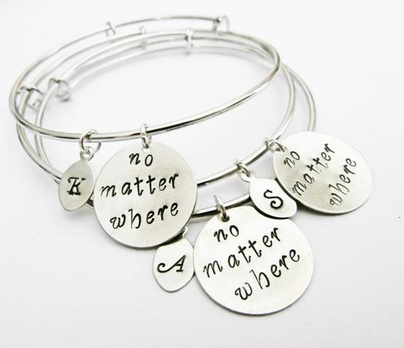 Personalized Best Friends Bangle Bracelet Set 3 Friendship Bracelets, Friendship Jewelry, Gift Best Friend Jewelry, no matter where, initial