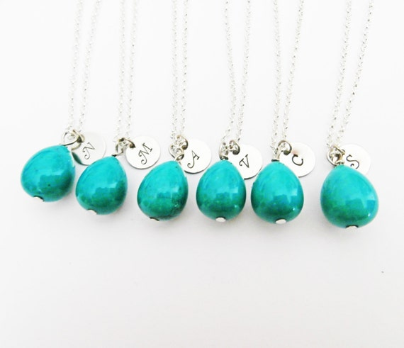 Set of six initial necklaces, turquoise teardrop necklace, simple turquoise necklace silver, bridesmaid gifts, personalized december stone