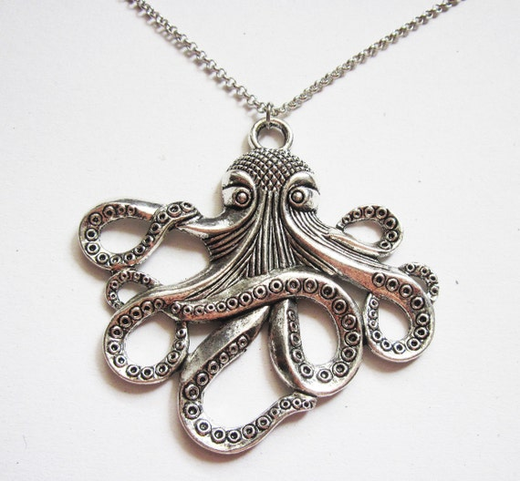 Silver Octopus Necklace, Octopus Necklace, Octopus Jewelry Necklace, Large Octopus Pendant, Big Octopus Necklace, Kraken, cthulhu, squid