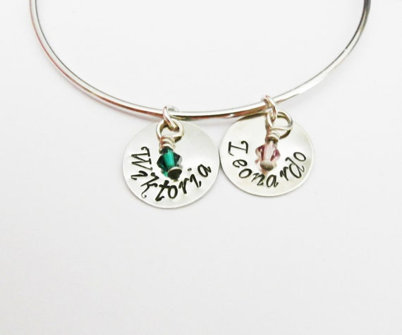 Personalized Bangle Bracelet, Best Friends Bracelet, Silver Bangle Charm Bracelet, Name Bracelet, Birthstone Jewelry, Stacking bangles cuff