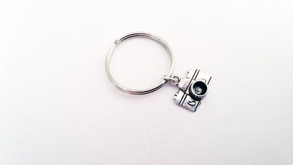 Camera keychain, camera key chain, silver keychain, camera charm, photographer key ring, photograph keychain personalized keychain bag charm