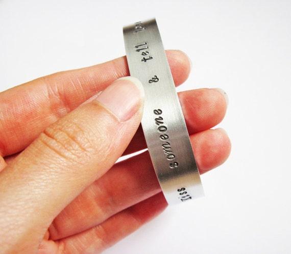 Custom quote cuff, aluminium bracelet, personalized cuff bracelet, silver cuff, handstamped jewelry, custom word bracelet, hand stamped big