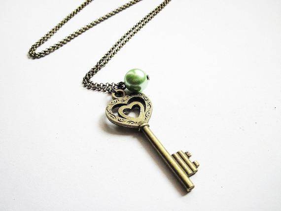 Skeleton Key Necklace, Heart Key Necklace, Key Pendant, Heart Jewelry under 25, Brass Key Necklace, Long Key Necklace, Love Heart