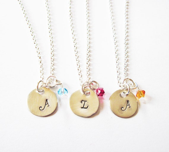 3 Best Friend necklaces, initial silver necklace, sister necklace set, mother daughter jewelry, personalized jewelry, Swarovski birthstone