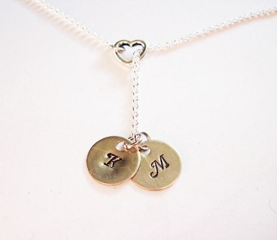 Personalized Initial Necklace, two Initials Charm Necklace, personalized Necklace, Hand Stamped necklace, engraved initials, couples, heart