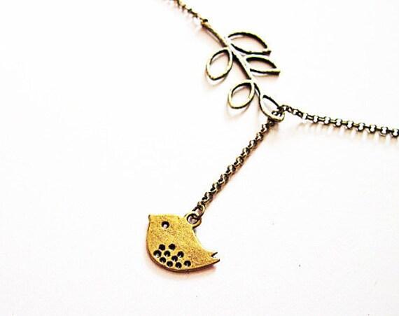 Bird Necklace, Lovebird Necklace, Love bird Necklace, Bird on a branch Necklace, Lariat Necklace, Y necklace, bird jewelry, bird jewellery
