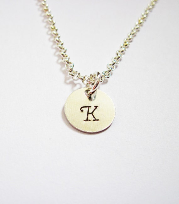 Initial Necklace - personalized necklace, one disc Silver necklace, engraved monogrammed necklace, hand stamped necklace, tiny disc necklace