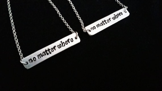Best Friends necklaces no matter where necklace, Bridal party, Bridesmaid gift, set of two, bar necklace, friendship jewelry mother daughter
