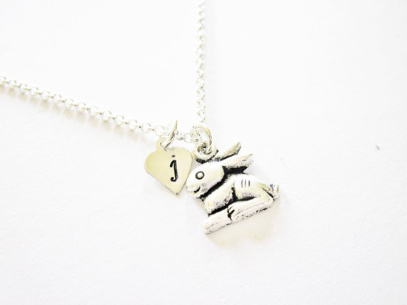 Bunny necklace, small silver personalized rabbit, hand-stamped initial charm, tiny minimalist Easter bunny, initial necklace, customized