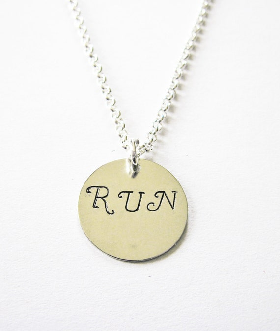 Run Necklace, Hand Stamped Necklace, Runner Jewelry Marathon Necklace simple Motivation Inspirational Jewelry, silver running accessories