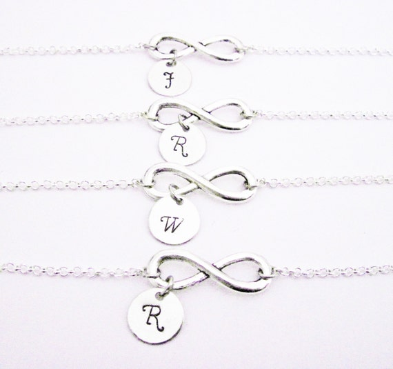 Set of four personalized infinity necklaces, Set of 4 bff gifts, monogram, four necklaces, custom stamped charm, initials infinity charm