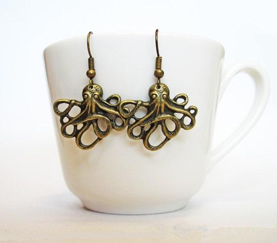 octopus earrings, octopus jewelry, cthulhu earrings, brass earrings, whimsical jewelry, dangly earring, animal earrings, squid earrings