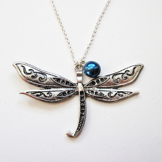 silver dragonfly necklace, dragonfly jewelry necklace, dragonfly pendant, silver necklace, insect jewelry, animal necklace, long necklace