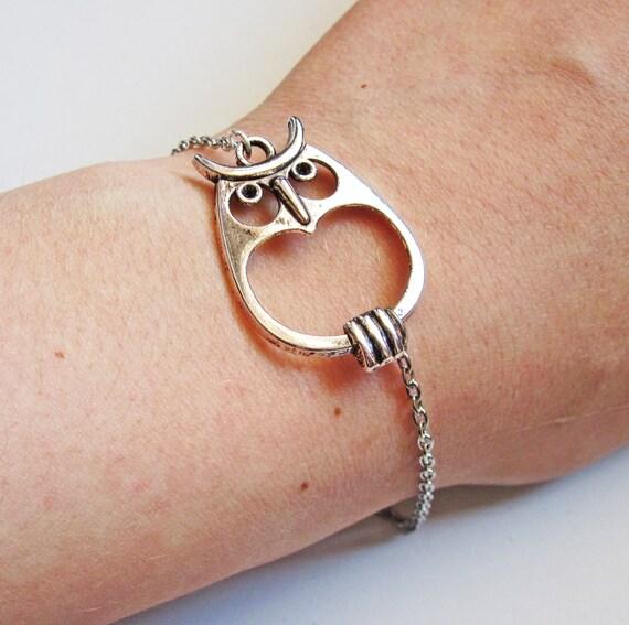 Big Owl Bracelet, Bracelet Owl, Owl Jewelry, silver Owl Bracelet, Owl silver Bracelet, Owl Charm Bracelet, Owl Accessories, fashion bracelet