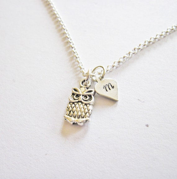 Personalized Owl Necklace, Initial necklace, personalized necklace, personalised necklace, owl jewelry jewellery, owl necklace tiny heart