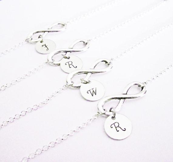 Set of four best friends bracelets, 4 bff infinity bracelets, personalized initials bracelets, letter, monogram, mom, custom stamped charm