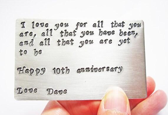 Personalized Love Note, Birthday Card, Hand Stamped Keepsake Card, Wallet Insert, Metal Wallet Card, Graduation Gift, Deployment Gift, men