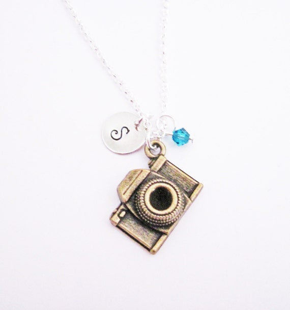 Custom Camera Necklace, silver photography necklace, initial, mixed metals photographer gift, camera jewelry, photography, journalist