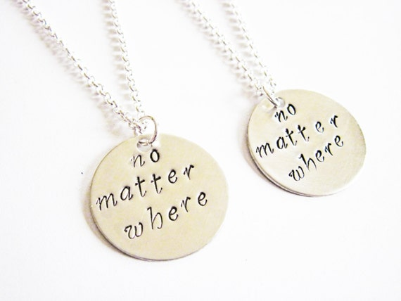 2 sisters necklace long distance handstamped necklace personalized jewelry gift for best friends best friend jewelry friendship bff necklace