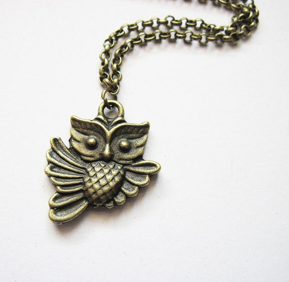 Owl Necklace Brass Owl Pendant, Owl Charm Necklace, Woodland Creatures, Jewelry under 20, Owl Jewelry, Flying Owl Necklace, owl accessory