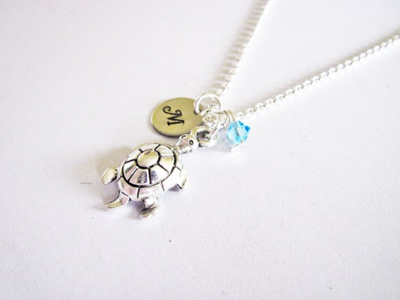 Turtle Necklace, Turtle Charm Necklace, Initial Birthstone Necklace With Turtle Charm, Hand Stamped initial disc birthstone jewelry turtoise