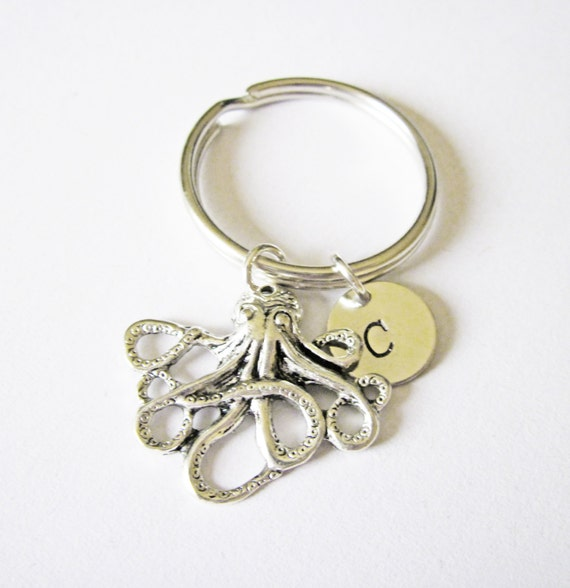 personalized keychain, octopus key chain, initial key chain, friendship best friend key chain octopus gift for best friend, keyring initial