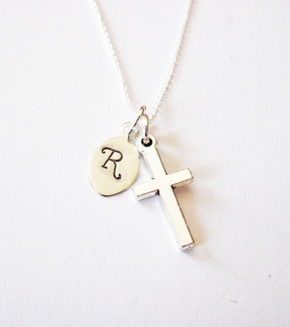 Personalized Cross Necklace, Initial necklace, personalized necklace, churchgoer necklace, sterling silver, Dainty Cross Charm, Baby, leaf