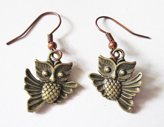 Flying Owl Earrings, Dangle Earrings, Bird Owl Jewelry, Jewellery Earrings, Woodland Creatures Whimsical, Brass Owl, retro, vintage style