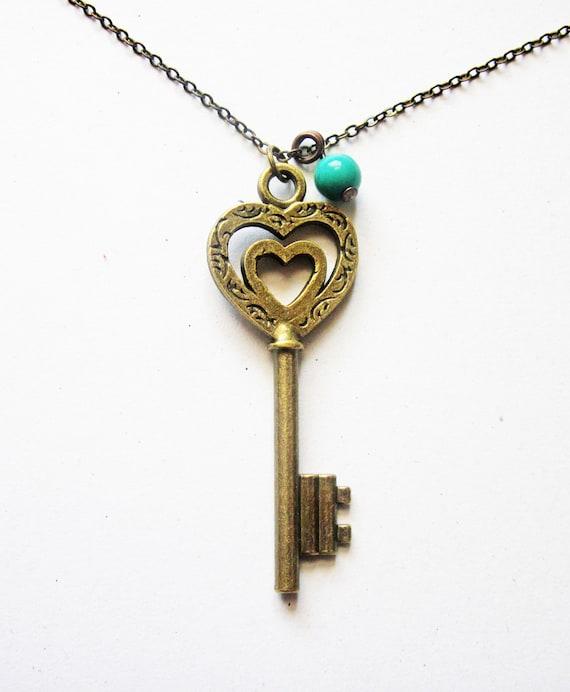 Skeleton Key Necklace, Heart Key Necklace, Key Pendant, Skeleton Key Jewelry, Brass Key Necklace, Long Key Necklace, Love Key Necklace
