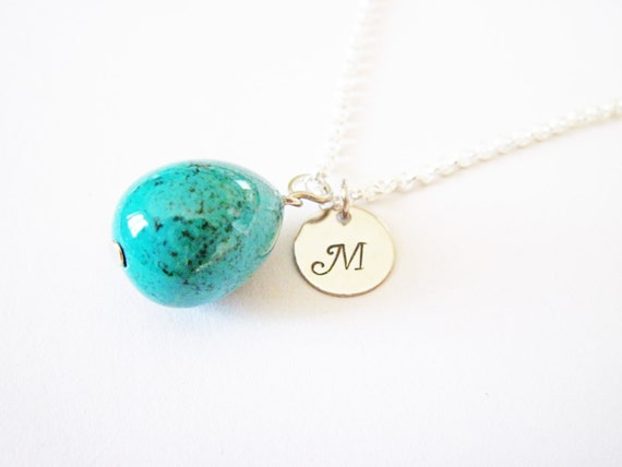 initial necklace, turquoise teardrop necklace, simple turquoise necklace, silver necklace, bridesmaid gifts, birthday gift, december stone