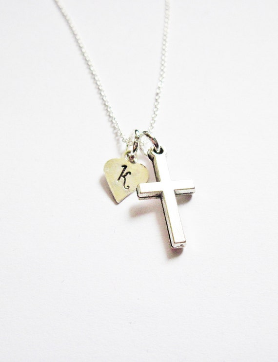 Personalized Cross Necklace, Initial necklace, personalized necklace, churchgoer necklace, sterling silver, Dainty Cross Charm, Baby, heart
