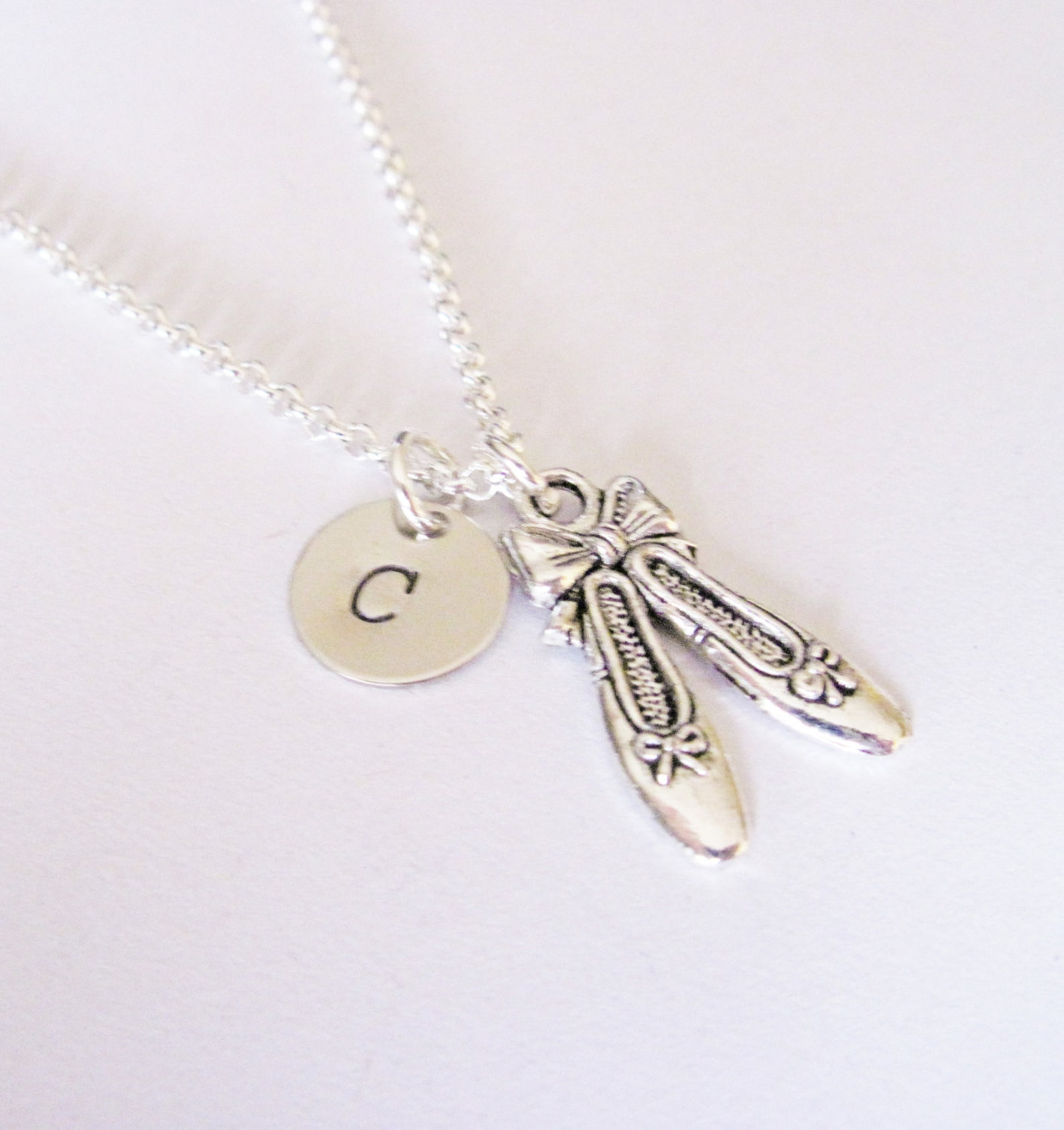 ballet shoes necklace, ballet slippers, initial necklace, initial hand stamped, personalized, antique silver, monogram, ballerin
