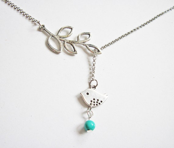 Branch bird necklace, lariat necklace, Y necklace, turquoise bead, white gold, silver lovebird necklace, love bird necklace, bird jewelry