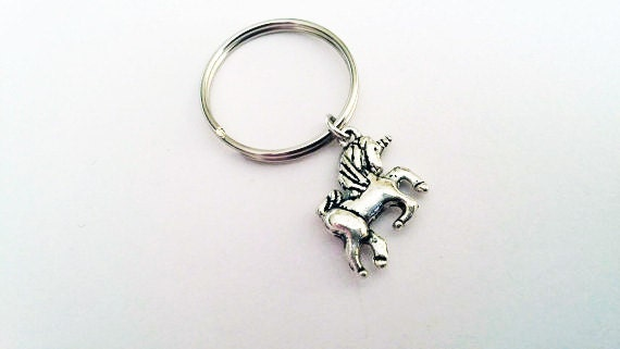 Unicorn keychain, unicorn key ring, silver keychain, fairytale charm, mythical creature key ring, little girl gift, key fob, horn horse cute