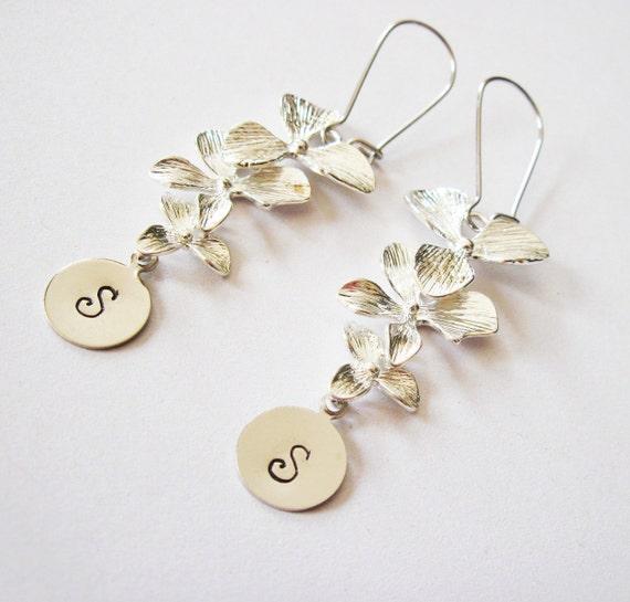 Personalized Orchid Earrings, personalized earrings, initial earrings, engraved earrings, hand stamped earrings, custom earrings silver