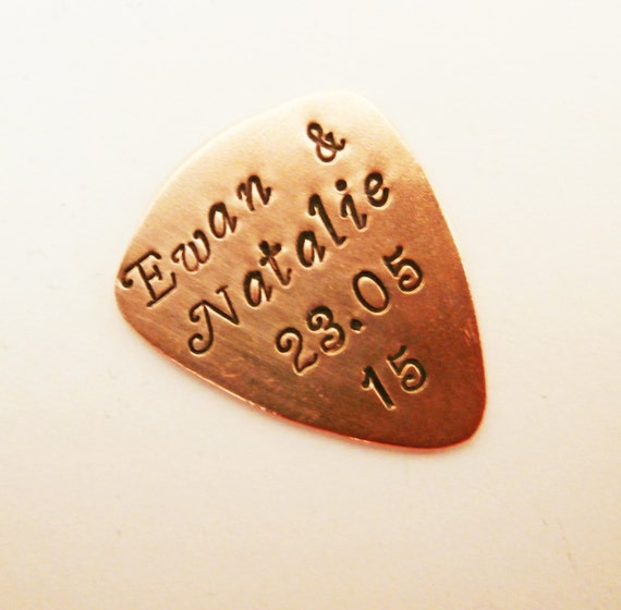 Copper guitar pick, name and anniversary date plectrum, Mens Gifts, gifts for men, Christmas gift, personalized hand stamped guitar pick